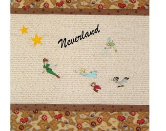 Embroidered Peter Pan Quilt -  Personalized - You choose the fabrics - Cotton or Minky backing