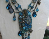 Installment for Nadia - Be Still My Gypsy Heart - EXPLOSIVE Signed Art-to-Wear Bohemian Statement set with 4 photo Locket in Turquoise OOAK