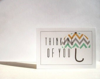 Thinking of You Cards - Umbrella Stationery, Thinking of You Card Set, Chevron Striped Umbrellas, Get Well Cards, Grey Mint Mustard Yellow