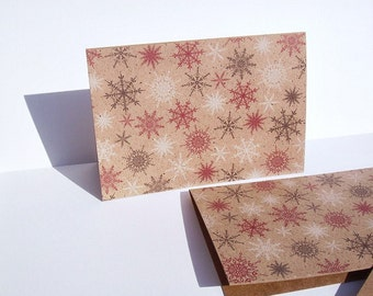 Winter Snowflake Note Cards - Kraft Snowflake Stationery, Rustic Holiday Thank You Notes, Winter Snow Note Card Set, Kraft Red Black White