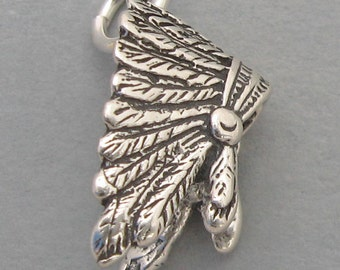 Sterling Silver Charm Pendant 3d INDIAN FEATHER HEADDRESS sc036