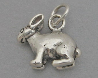 Small Sterling Silver 925 Charm Pendant 3D BUNNY RABBIT Easter 4042