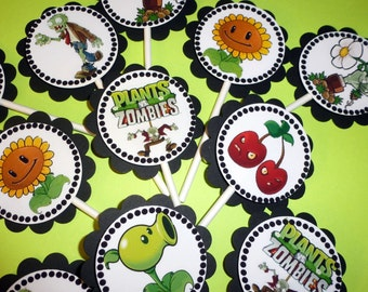 """30 Dimensional """"Plants vs Zombies"""" Cupcake Toppers *Ready to Ship*"""