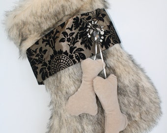 Dog Stocking -  Faux Fur and Taffeta with Jewel Accent