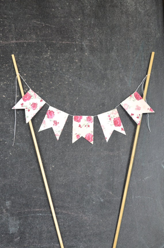 Rose Bunting Garland Cake Topper, customizable floral dessert topper