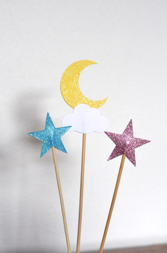 Twinkle Little Star Dessert Picks, moon, cloud and blue and pink stars with custom colors available