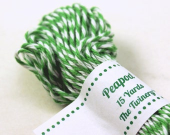 Bakers Twine - BRIGHT & BOLD Peapod Green and White String for crafting, gift wrapping, packaging, invitations - 15 yards