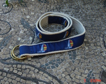 Canvas Belt with Sail Boats with Double D Loops - Like New