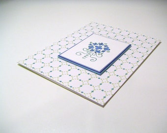 Blue Bouquet One of a Kind Handmade Stamped Greeting Card for Wedding or Bridal Shower