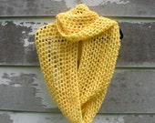 Extra Large Cowl-Scarf-Shawl, Crocheted, Soft, Warm, Butter Cream Yellow, Beautiful Gift Idea