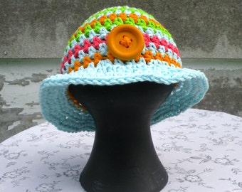 Baby Bucket Hat, Multi-Colored With Blue Brim, Cotton,  NB-3 Months, Crocheted
