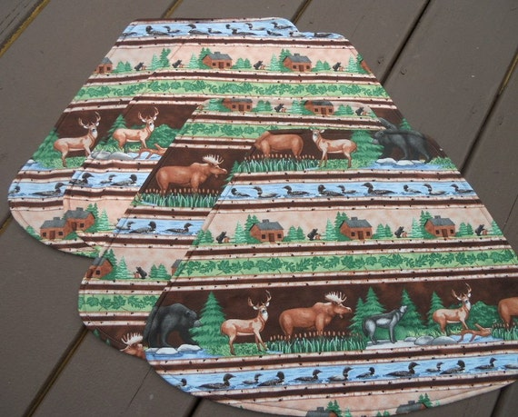 Placemats, Round Placemats, Northwoods, Wilderness Fabric, Moose, Loons, Bear