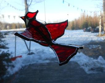 3-D Cardinal stained glass suncatcher