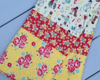 Modern Handmade Baby Infant Toddler Quilt Blanket Retro Floral ready to ship