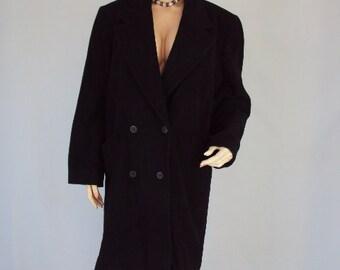 vintage coat Wool / CASTRO Coat 80s /vintage 1960s coat / black wool 60s coat /Wool Coat vintage 1980s / Free Shipping !!
