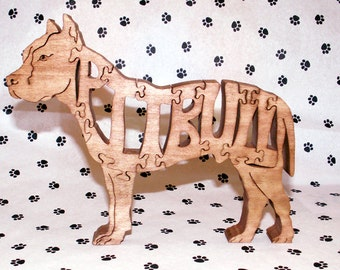Pitbull with Cropped Ears Handmade Fretwork wood Puzzle