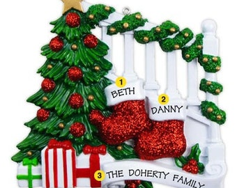 Personalized Christmas Ornament Two Stockings/ Bannister  Family of Two, Twins, Couple's 1st Christmas-  -Free Personalization