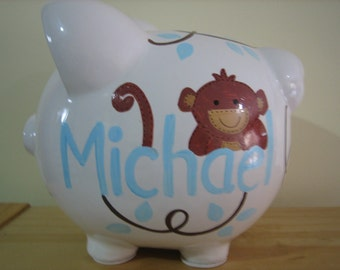 Personalized Large piggy Bank Giggles Monkey - Newborn, Baby Shower, Ring Bearer, Flower Girl, Christening Gift