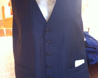 Navy on Navy Pinstripe Wool and Cashmere Blend Vest 42L NOS