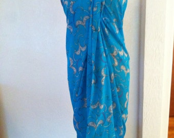 Huge Semi Sheer Cotton Vintage EMILIO PUCCI Turquoise Scarf