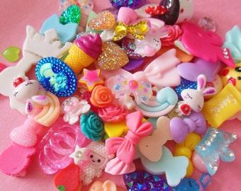 10 pcs Decoden Sweets Bow Heart Cute Kawaii Resin Rhinestone Cabochon Handmade Polymer Clay, Resin Kawaii Pastel Fairy Kei Mixed Set