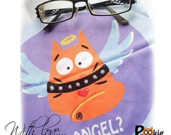DOUBLE printed GLASSES CLOTH Angel Devil orange cat  - PookieCat
