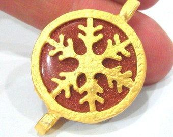 28mm Star Brown Pendant Connectors , Gold Plated Brass Snowflake Bezel G1664