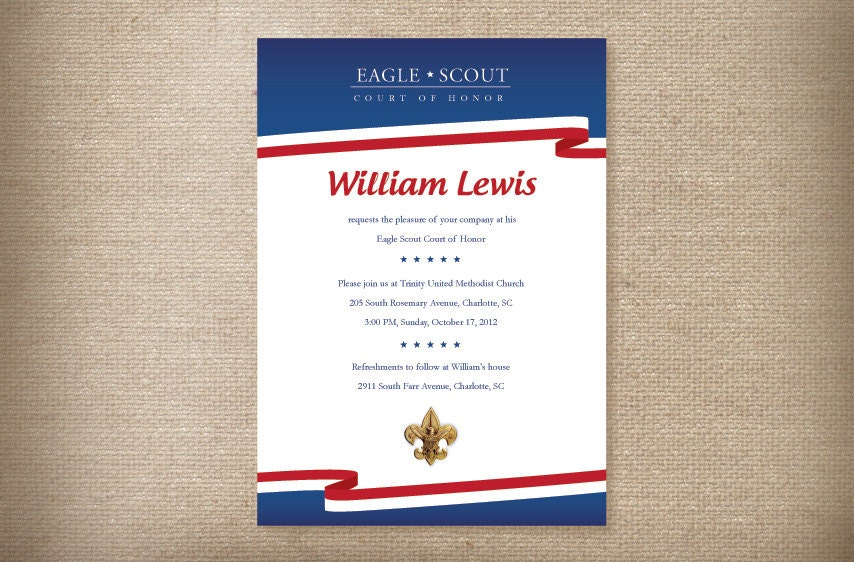 Eagle Scout Court of Honor Invitations Card Red White – Eagle Scout Invitation Cards