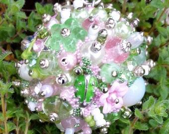 Beaded Vintage Drop Ornament Chandelier Crystal Seafoam Green Pink
