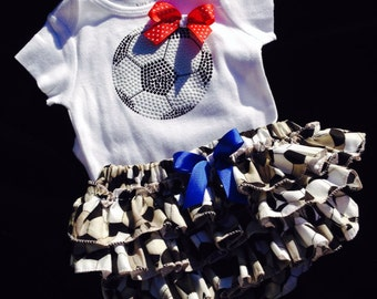 Baby girl soccer body suit/matching ruffled bloomer/ soccer coach/sports attire/sports clothing