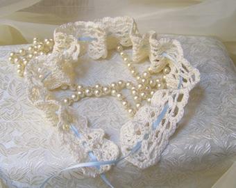 Something Blue,  Bridal Garter, Crochet Garter, Wedding Accessory, Cream, Bridal Lace, Crochet Lace, Bridal Keepsake, Ready to ship
