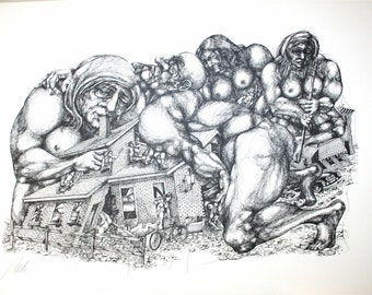 1960s 70s Swiss NYC Soho Artist Ernst Aebi Pencil Signed Dated Illustration Lithograph nude Nightmare Drawing