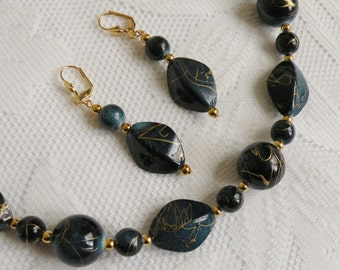 Blue Gold Vein Acrylic Necklace and Earring Set 2