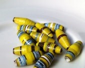 12 paper beads - lime green, blue -