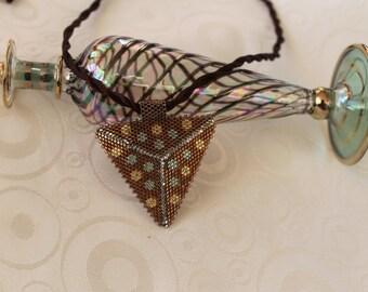Beaded Pendant Necklace, Peyote Trıangle,