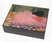 Claude Monet Cat Large Keepsake/Memory Box, Black Cat Art,Gift Box,  Pet Memorial, Cat Memorial, Deborah Julian