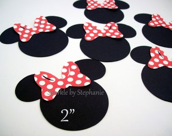 """Minnie Mouse Heads with Red Polka Dot Bow Die Cuts - 2"""" - Set of 12+"""