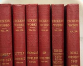 Charles Dickens - Complete Set of 30 Antique Books - Instant Collection -CLEARANCE - Red - Burgundy