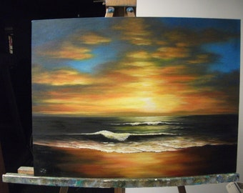 Sunset Over The Ocean Waves, Beach, Night, Sea, Sky, Clouds, Surf Original Landscape Oil Painting