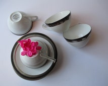 Vintage Sango Deluxe Fine China Ondine Platinum Trimmed Teacups and Saucers Set of Four