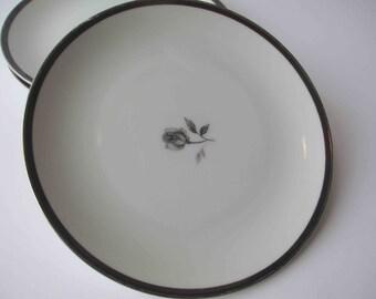 Vintage Empress China Rosemont Black Rose Bread & Butter Plates Set of Four