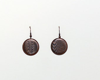 Copper Etched Morie Pattern Earring