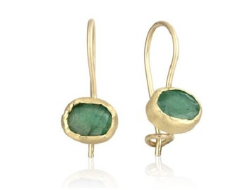 18k Yellow Gold Emerald Hook Earrings, Emerald Jewelry, Emerald Birthstone Earrings, May Birthstone Earrings