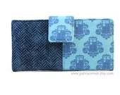 ON SALE - Handmade womens wallet Blue Tardis on damask and faux tweed - Dr Who - ID clear pocket - Clutch - ready to ship