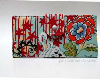 CLEARANCE - Handmade women's wallet clutch Asian orange flower on blue - ID clear pocket - ready to ship - gift for her - sale