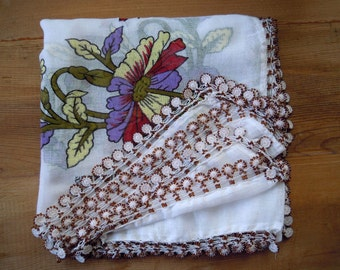 white floral scarf, crochet beaded trim, turkish scarf oya