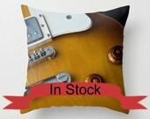 "18"" Electric Guitar Pillow Cover, Man Cave Decor, Recording Studio, Throw Cushion Case, Handmade in Canada, Boys Bedroom, Den, Office, Brown"