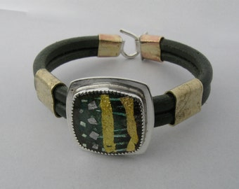 Green and Gold Enamel in Silver Setting on Leather Bracelet
