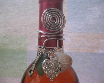 Wine Bottle Topper - Wine Charm Sea glass seaglass locket wine topper beach glass jewelry Beach Glass Jewelry, Handmade Custom Jewelry