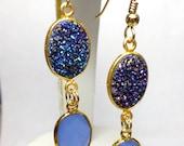 Dangle Earrings Purple Titanium Druzy Natural Blue Chalcedony Gem Stones 14kt Gold Filled One of a Kind Handmade Lisajoy Sachs Design Modern